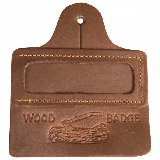 Wood Badge Leather Name Tag Holder w// Address Card  BSA