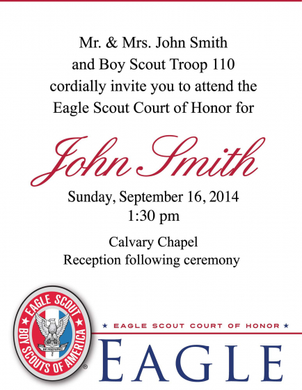 It is a photo of Eagle Scout Congratulations Card Printable regarding invitation