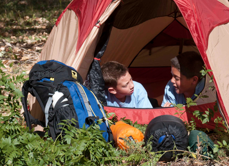 Tent, backpacks, and sleeping bags