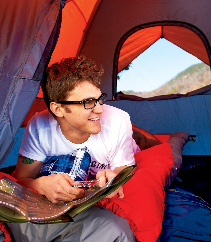 Tent, Compass, Sleeping Bag