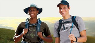 Hiking Scouts with Packs and Hats
